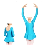 Long Sleeve Leotard with Attached Skirt - Nylon/Lycra